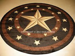 Image Is Loading Round Texas Lone Star Rustic Cowboy Western Black