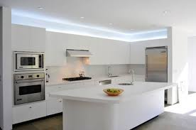 Kitchen Alluring White LED Lights On Ceiling Above Counter And Floating Cabinets Facing Stylish