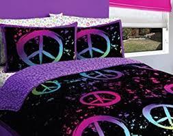 Amazon Black Purple Pink Peace Sign Queen Girls forter Set