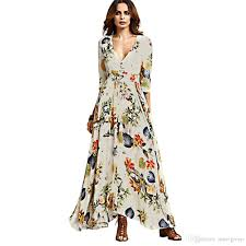 women summer boho dress maxi long 2017 fashion deep v neck three
