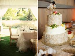 Romantic Wedding Inspiration Tulle Reception Table Cloths Lace Adorned Cake Outdoor