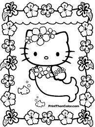Kids Coloring Pages To Print And Then Color Throughout Hello Kitty Birthday