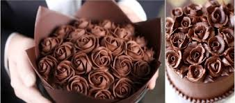 chocolate cake decorating ideas chocolate roses via Tumblr left and from Zoe Bakes right