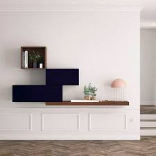 Contemporary Living Room Wall Unit Lacquered Wood Walnut