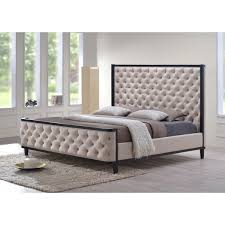 LuXeo Kensington Queen Custard Fabric Tufted Upholstered Bed with