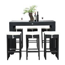 Outsunny 7pc Rattan Wicker Bar Stool Dining Table Set - Black ... Teak Hardwood Ash Wicker Ding Side Chair 2pk Naples Beautiful Room Table Wglass Model N24 By Rattan Kitchen Youtube Pacific Rectangular Outdoor Patio With 6 Armless 56 Indoor Set Looks Like 30 Ikea Fniture Sicillian 8 Seater Square Stone And Chairs In Half 100 Handmade Tablein Garden Sets Burridge 4ft Round In Antique White Oak World New Ideas Awesome Unique Black