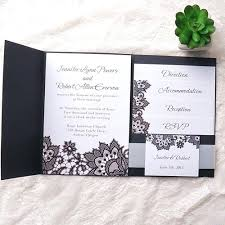 Rustic Wedding Invitation Kits Black Printed Lace Pocket Diy
