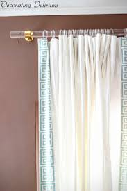 DIY Lucite Curtain Rod and Greek Key Trim Curtains