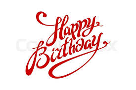 Happy Birthday lettering calligraphy vector red card art