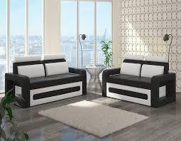 canape blanc noir salon complet sofamobili