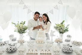 Dessert Table Guest Of Honor Parents From An Elegant White Baptism Via