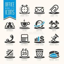 icone bureau bureau ensemble d icône de la vie de travail illustration de