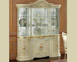 details zu vitrine klassisch leonardo beige hochglanz wohnzimmerschrank barock italienisch
