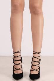 trendy black heels lace up heels suede heels pointed toe