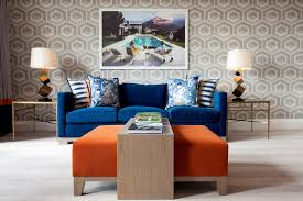 Blue Velvet Armchair Living Room Contemporary With Wood Floor Wallpaper And Wall Covering Professionals