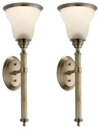 enchanting antique brass wall sconce reeded torch sconces pair in