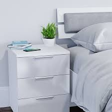 vicco 2x nachtschrank kommode nachttisch schublade schlafzimmer weiß hochglanz