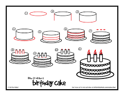 a printable for how to draw a birthday cake plus see step by
