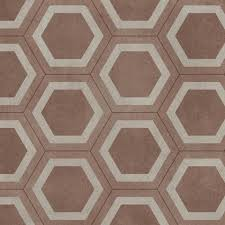 Hex Red Vinyl Flooring 2 Metre Wide