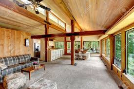 Log Cabin Kitchen Images by Open Floor Plan In Log Cabin House View Of Living Room And