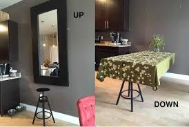 Bedroom Vanity With Mirror Ikea by A Hideaway Dining Table Using Ikea Mirror Ikea Hackers Ikea