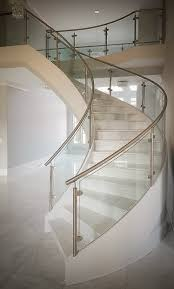 Modern Curved Staircase With Stainless Steel And Glass Railings ... Modern Glass Stair Railing Design Interior Waplag Still In Process Frameless Staircase Balustrade Design To Lishaft Stainless Amazing Staircase Without Handrails Also White Tufted 33 Best Stairs Images On Pinterest And Unique Banister Railings Home By Larizza Popular Single Steel Handrail With Smart Best 25 Stair Railing Ideas Stairs 47 Ideas Staircases Wood Railings Rustic Acero Designed Villa In Madrid I N T E R O S P A C