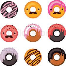 Delicious donut icon set Sweet dessert Modern hipster flat design Vector illustration Stock Vector