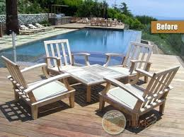Weathered Teak Patio Furniture Alluring Outdoor Refinishing Cleaning