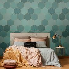 schlafzimmer fototapete wabenmuster meeresgrün und petrolblau 158958