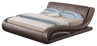 modrest meroy modern leatherette bed with led light contemporary