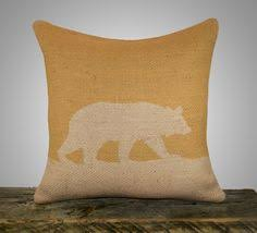 Bear Pillow Cover Mustard Yellow Burlap Throw Decorative Cottage Chic