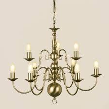 Impex Flemish 9 Light Candle Antique Brass Chandelier