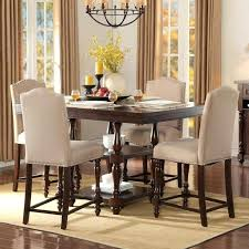 High Dining Room Tables Top Bar 5 Piece Counter Height Set White