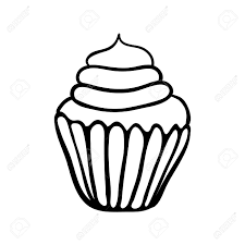 Hand drawn cupcake sketch Black outline on white background Stock Vector