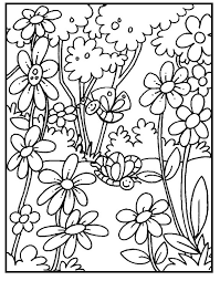 Butterfly On Garden Spring Day Coloring Picture For Kids