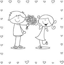 Boy And Girl Valentine Coloring Page