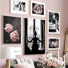 wand kunst leinwand malerei blossom rosa modell mädchen