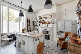 cuisine shabby vintage style kitchen shabby chic with tiled floor l listed swing