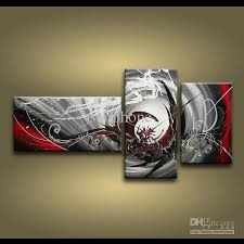 Framed 3 Panels 100 Handmade High End Large Panel Wall Art Black White And Red Abstract Painting Home Decor Picture XD01242 Piece Oil