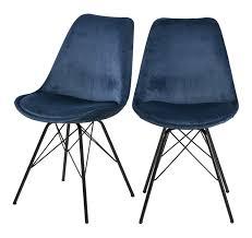 selsey sapodilla esszimmerstuhl 2er set polsterstuhl küchenstuhl mit weich gepolstertem sitz und schlanken metallbeinen dunkelblau stoffbezug