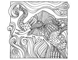 Difficult Abstract Elephant Coloring Pages For Adults Tone