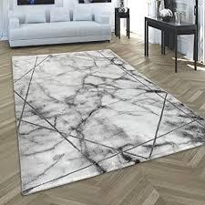 paco home teppich wohnzimmer kurzflor modernes abstraktes muster marmor optik grau silber grösse 80x300 cm