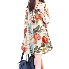 Summer Style Women Clothing 2017 Top Fashion New Trendy Autumn Vestido Floral Print Linen Casual Loose