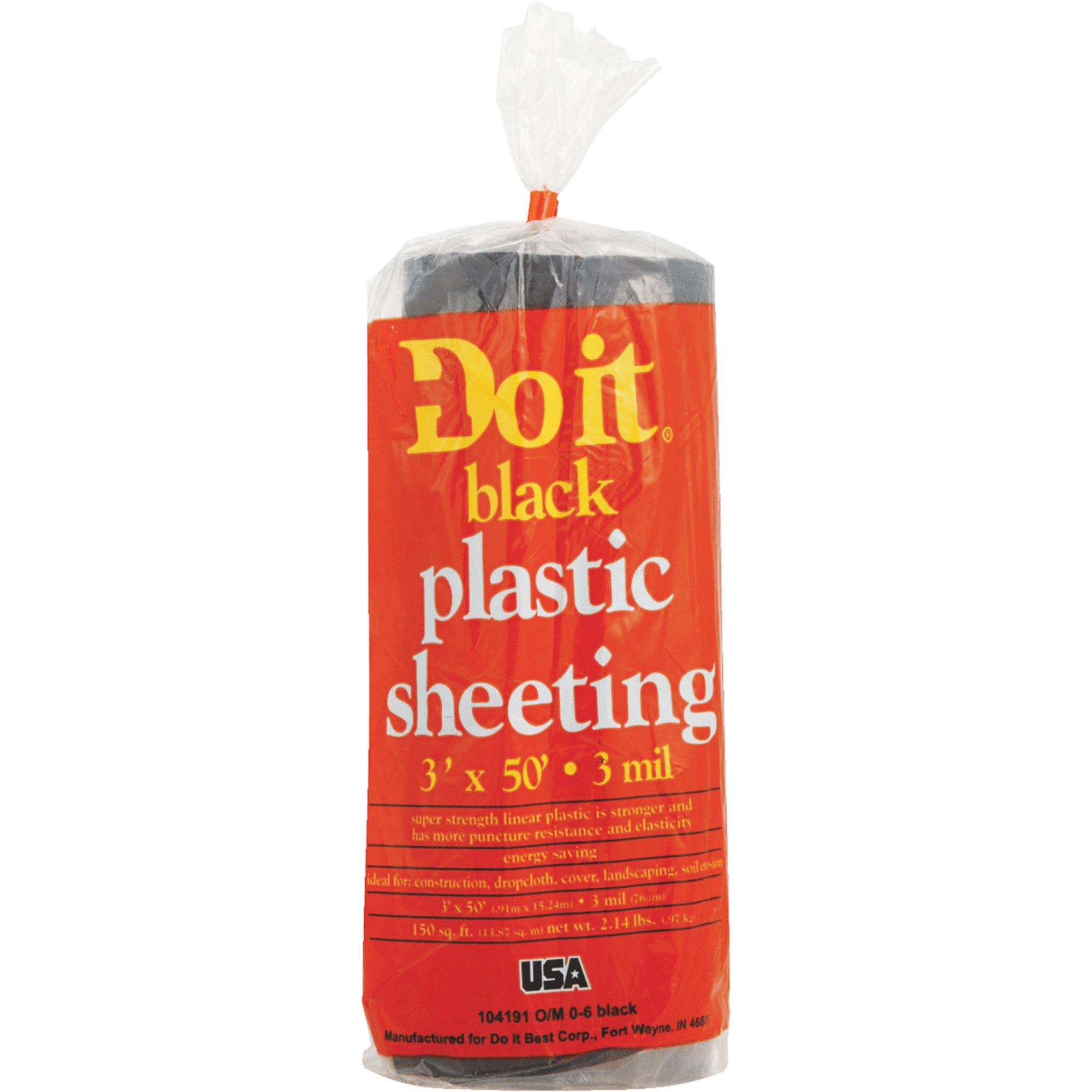Do It Plastic Sheeting - 3' x 50', 3mil, Black