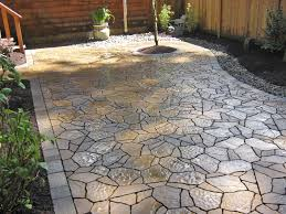 Exterior: Marvelous Grey Concrete Stones Mosaic Tile Patio Paver ... Tiles Exterior Wall Tile Design Ideas Garden Patio With Wooden Pattern Fence And Outdoor Patterns For Curtains New Large Grey Stone Patio With Brown Wooden Wall And Roof Tile Ideas Stone Designs Home Id Like Something This In My Backyard Google Image Result House So When Guests Enter Through A Green Landscape Enhancing Magnificent Hgtv Can Thi Sslate Be Used