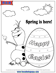 Disney Frozen Olaf Spring Easter Coloring Page