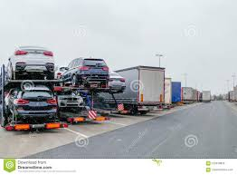 100 Area Trucks Standing At Reast Highway Germany Stock Photo Image Of