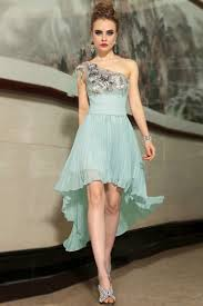 chiffon blue lace one shoulder high low dresses formal short prom