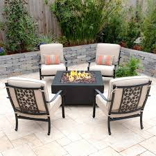 Carondelet 5 Piece Cast Aluminum Patio Fire Pit Conversation Set W ... Hanover Summer Nights 5piece Patio Fire Pit Cversation Set With Amazoncom Summrnght5pc Zoranne 4 Chairs Livingroom Table With Outdoor Gas And Tables Sets Fniture Fresh Ding Shop Monaco 7piece Highding 6 Swivel Rockers And A The Greatroom Company Kenwood Linear Height Alinum Cheap Chair Beautiful Comet 8 Wicker Chat Tank Awesome Top 10 Envelor Oval Brown 7 Piece Poker Stunning