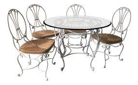 1950s French Country Wrought Iron Dining Set - 5 Pieces